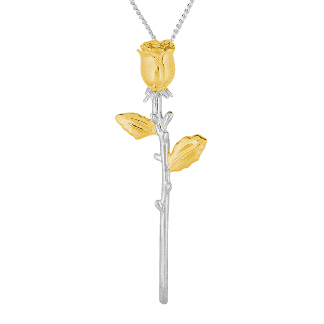 Everlasting Rose Pendant Glints with Gold on Silver