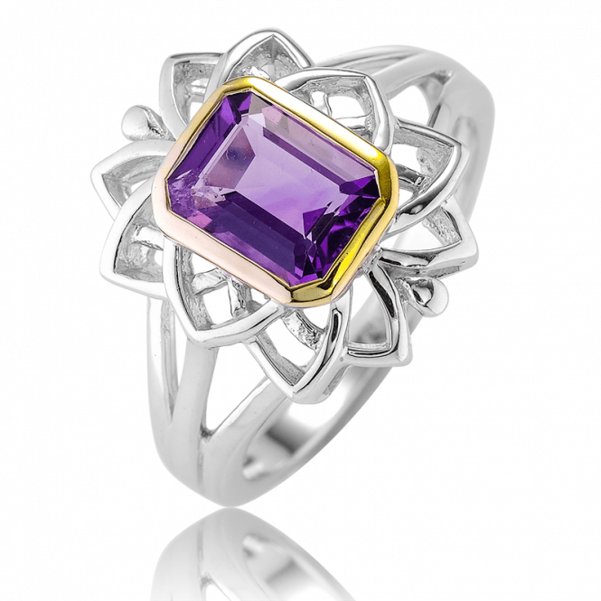 Layered Silver & 18ct Gold Elevate a 1½ct Octagon Amethyst