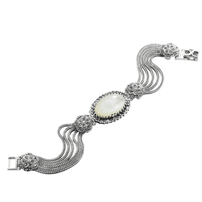 Shipton and Co Ladies Shipton and Co  Silver and Mother of Pearl and Marcasite Bracelet TSV014PMMM