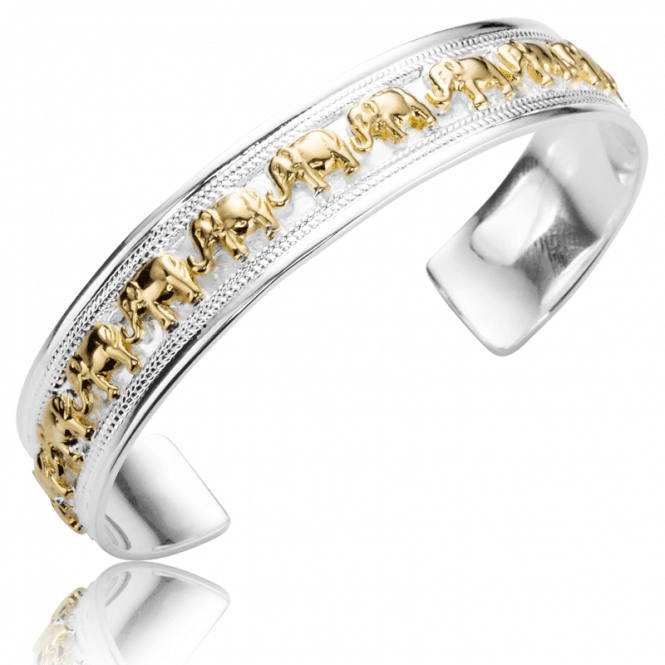 Ladies Shipton and Co Silver and Yellow Gold Plated Elephants Bracelet TFE148NS