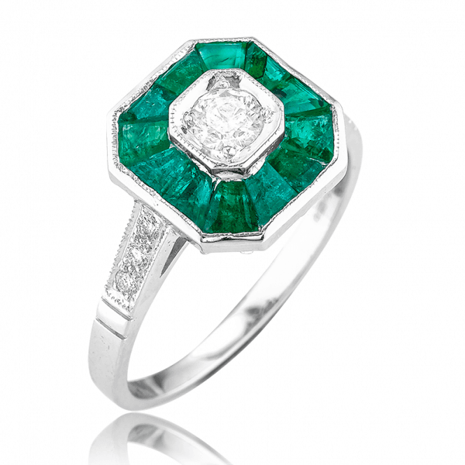 Stylish 18ct White Gold Geometry for Sumptuous Emeralds & Diamonds