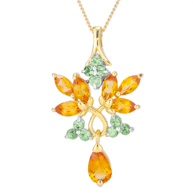 71/2cts Citrine & Green Sapphire Pendant Kissed by 18ct Gold