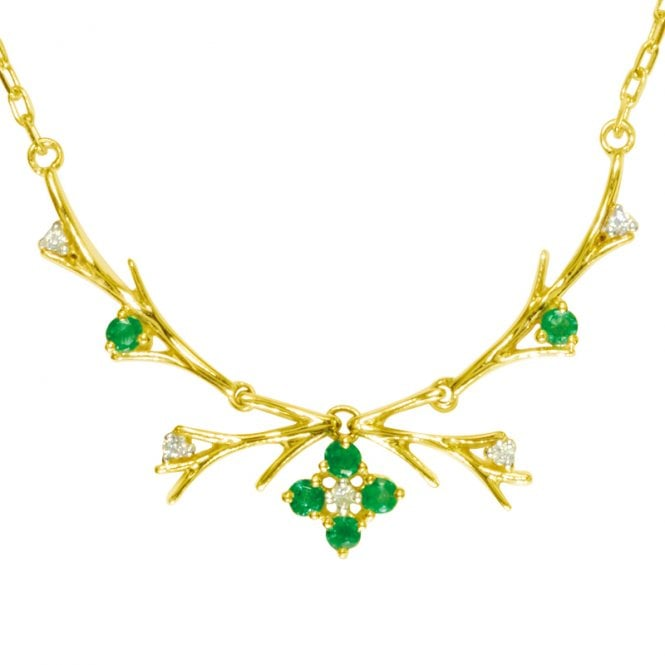 Ladies Shipton and Co Exclusive 9ct Yellow Gold Diamond and Emerald Cross Twigs Necklace NYD007EMD