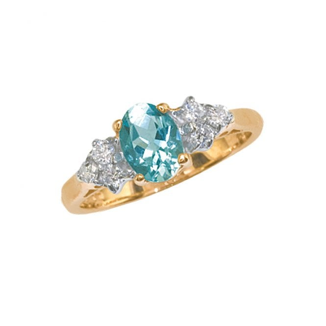 Ladies Shipton and Co Exclusive 9ct Yellow Gold Oval Aquamarine and 6 Stone 18pt Diamond Ring RYX078AQ