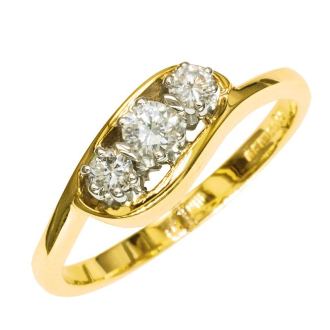 Ladies Shipton and Co Exclusive 9ct Yellow Gold Scroll Set Trilogy Diamond Ring RYX075DI