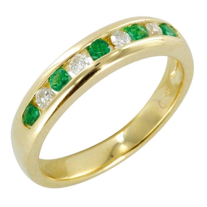 The Hamptons Half Eternity Ring in Emerald & Diamond