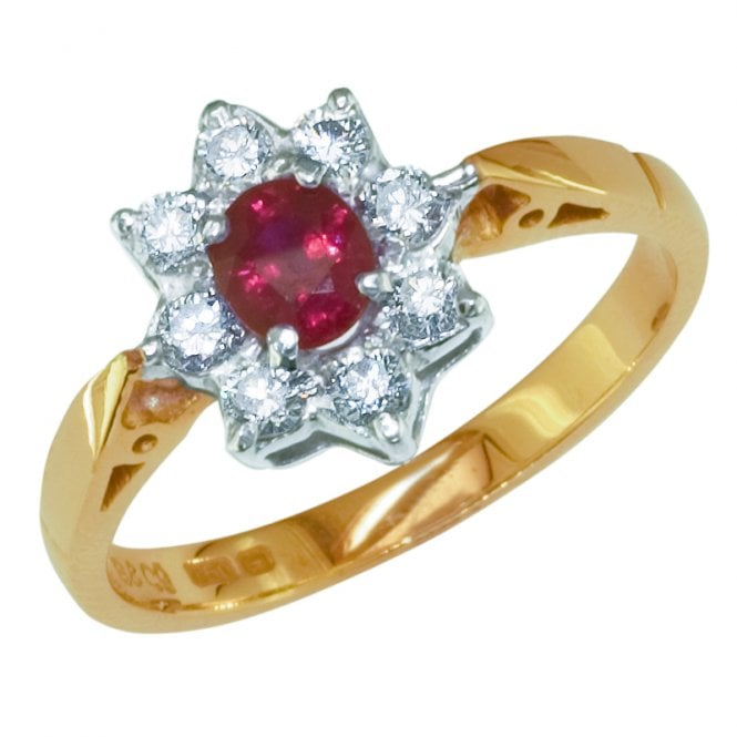Ladies Shipton and Co Exclusive 18ct Yellow Gold and Ruby Cluster Ring RZ2038RUD