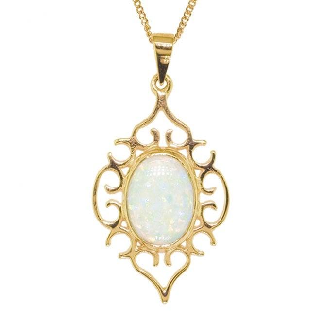 Filigree Nightingale Pendant in Snowy Opal