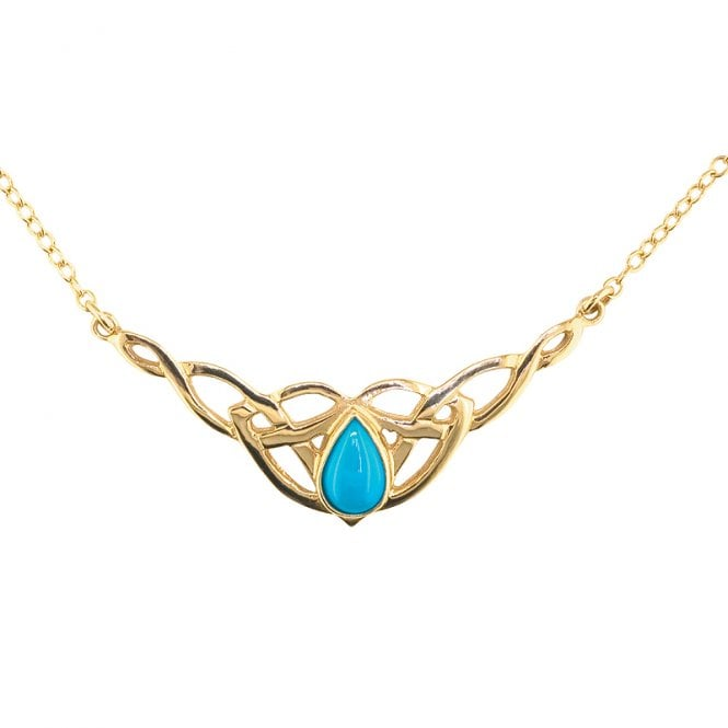 Ladies Shipton and Co Exclusive 9ct Yellow Gold and Turquoise Necklace NY1877TQ