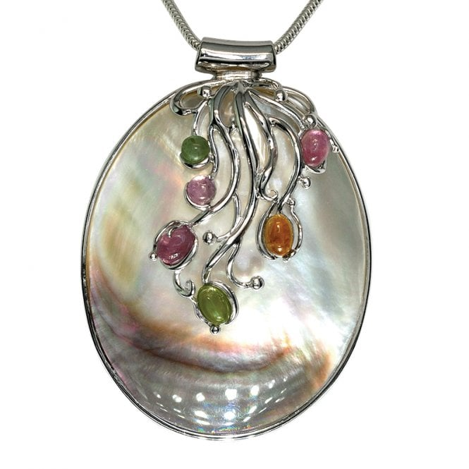 Ladies Shipton and Co Exclusive Silver and Multiple Stone Pendant including a 16 Silver Flexisnake Chain TTL066MU
