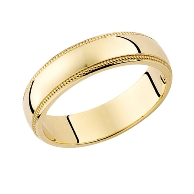 Ladies Shipton and Co 9ct Yellow Gold 5mm D Millgrin Wedding Ring TST006NS