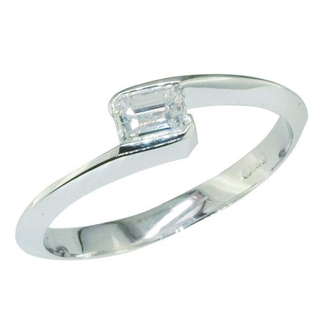Ladies Shipton and Co Exclusive 18ct White Gold Quarter Carat Baguette Cut Square Twist Diamond Ring TJS003DI
