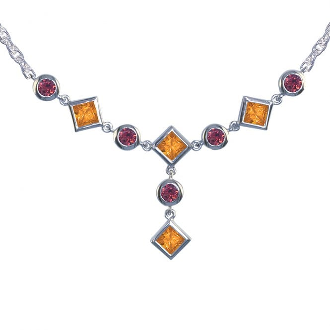 Ladies Shipton and Co Exclusive Silver and Multiple Stone Necklace NQA052MU2