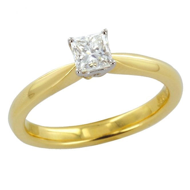 Ladies Shipton and Co Exclusive 18ct Yellow Gold Half Carat H/Si2 Princess Cut Diamond Solitaire Ring S08580DI