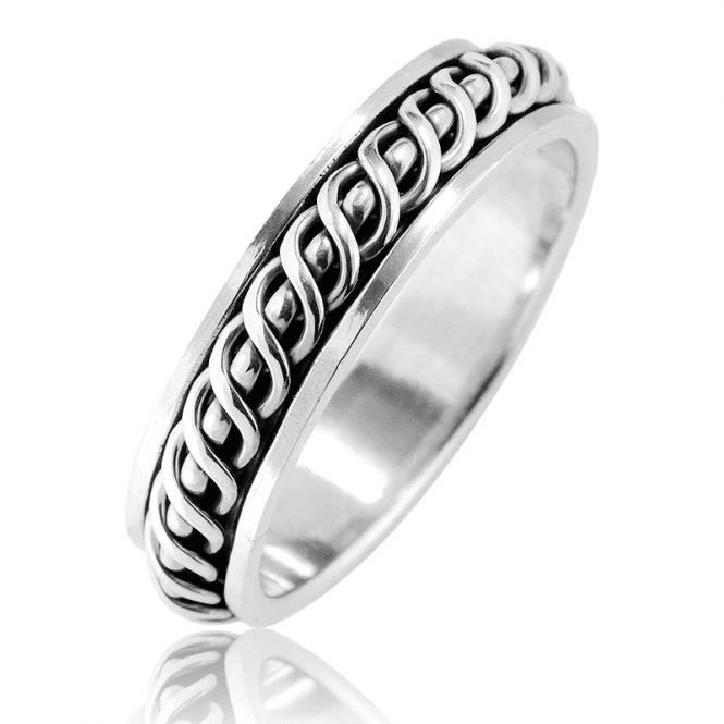 Spinner Ring in Sculptural Silver