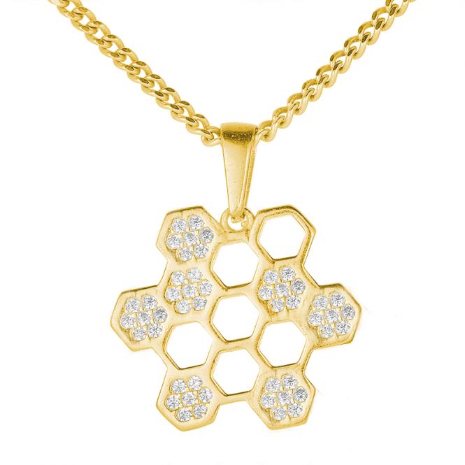 Honeycomb Pendant in Sunlit 9ct Gold
