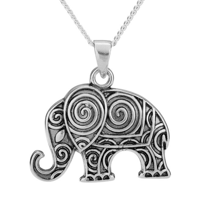 Elephant Pendant Swirled in Silver