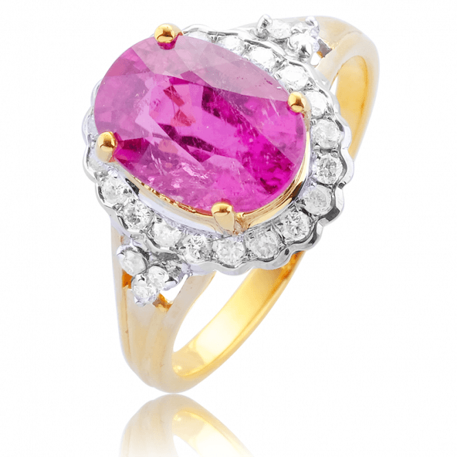 Over 2¾cts of Rare Rubellite & Diamonds in a 9ct Gold Cluster