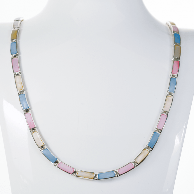 Four Seasons Silver Necklet with Pastel Shades of Mother of Pearl