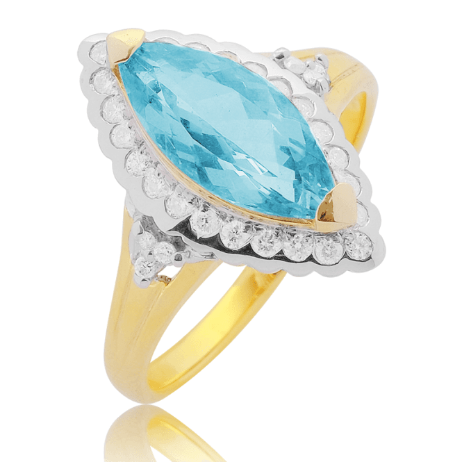Tonal 9ct Gold Ring with 2.53cts of Aquamarine & Diamonds