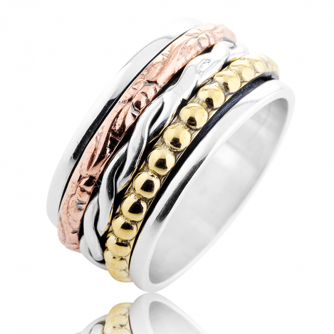 Silver Spinner Ring with 3 Colours of Gold