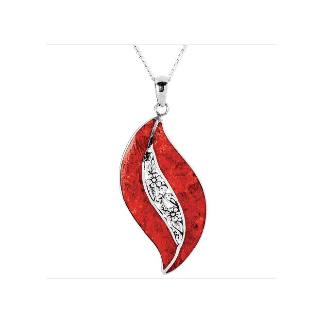 Coral & Silver Handmade Pendant