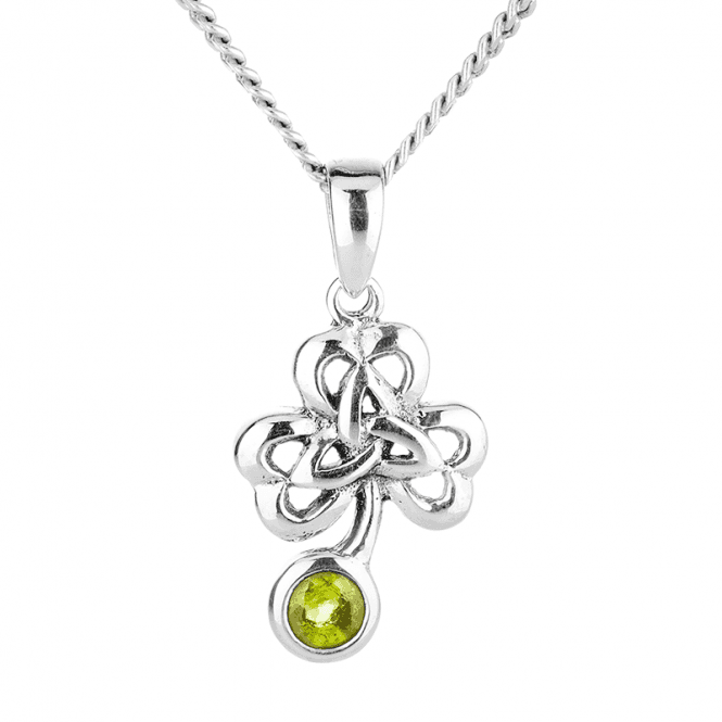 Celtic Leaf Pendant of Peridot Light