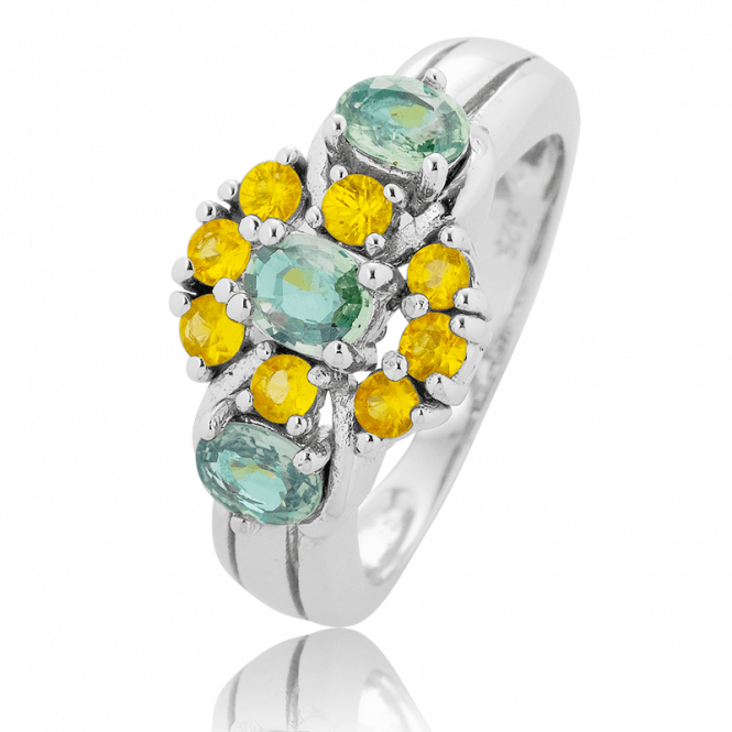 Silver Fusion Ring displays 2cts across Eleven Sapphires