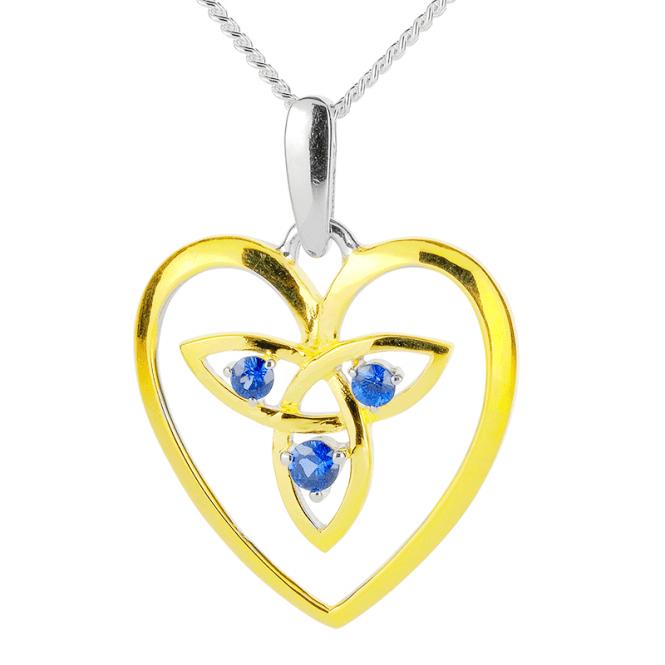 Celtic Love Pendant with Sapphire & 18ct Gold Vermeil