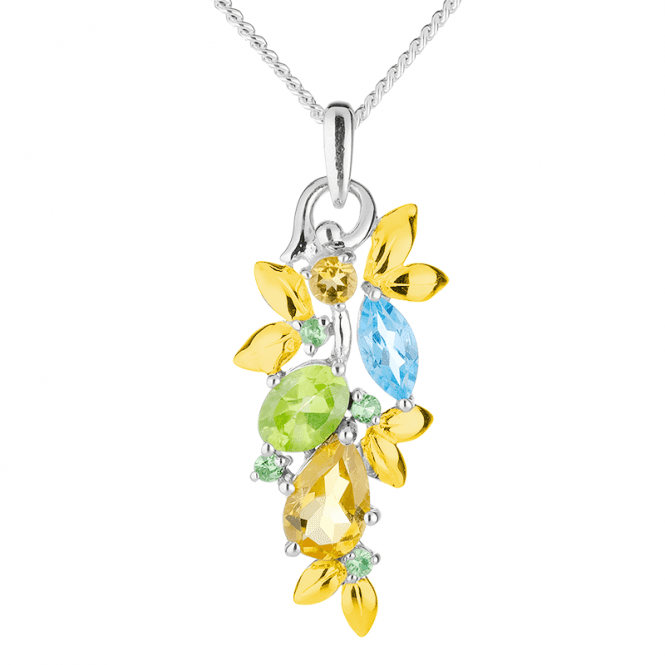 2.4cts of Citrine, Blue Topaz, Peridot & Tsavorite in a Gold-Kissed Pendant