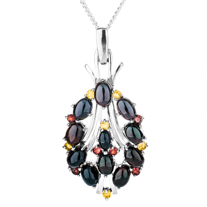 Garnets & Citrines Spark with 5¼cts of Black Opal