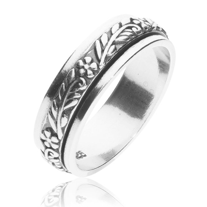 Silver Spinning Ring with the Floral Touch