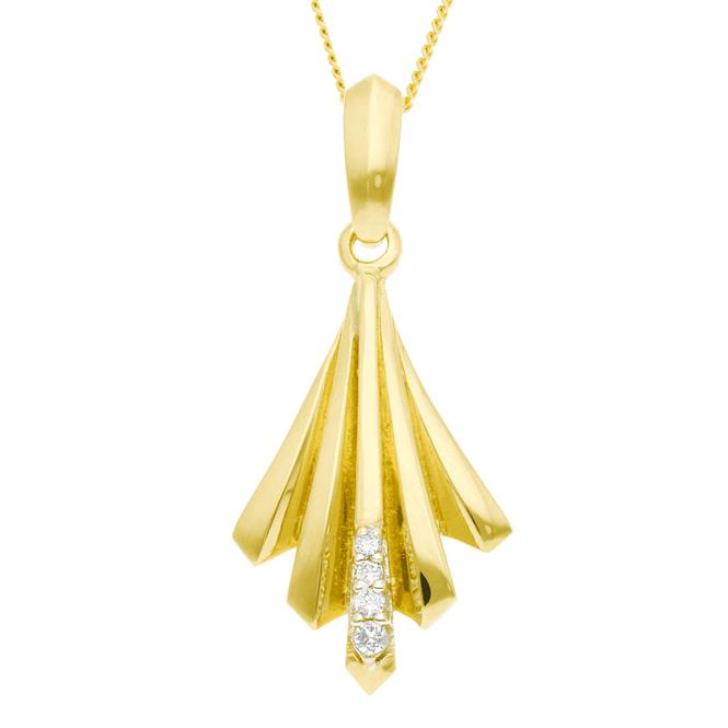 Art Deco Style Pendant in Diamond-Set 9ct Gold