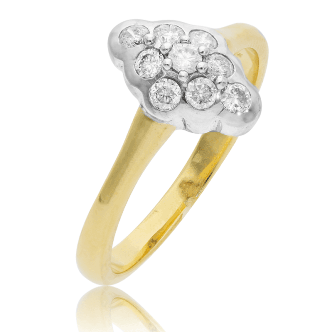 Victorian Design 9ct Gold Ring with 1/3 ct Diamond Cluster