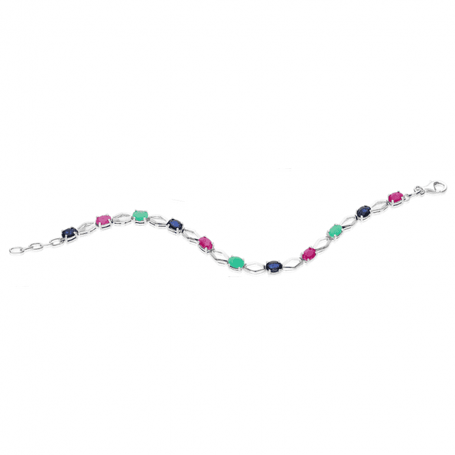 Silver Night Sky Bracelet with 3.85cts of Emerald, Ruby & Sapphire