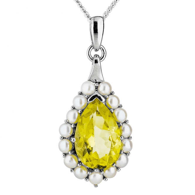 Dazzling Pendant with a 5ct Lemon Quartz Framed with Pearls