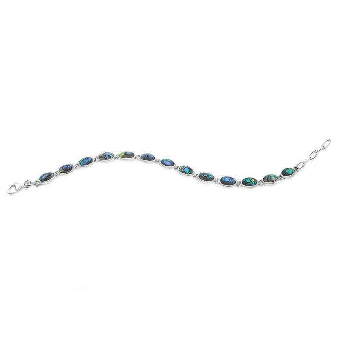 Ocean-Blue Paua Shell Bracelet Linked in Silver