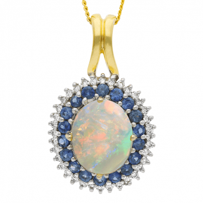 5ct Pendant with Abyssinian Opal, Sapphires & Diamonds