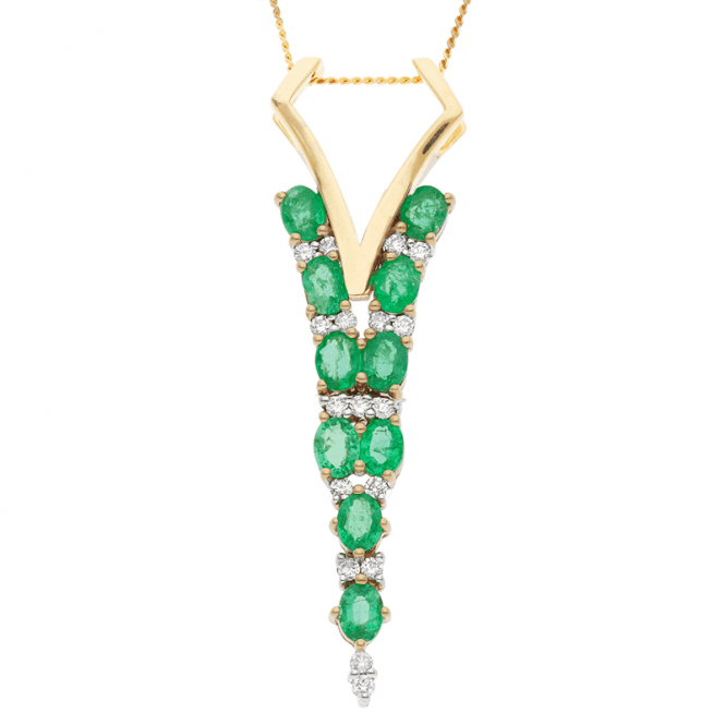 Deco 9ct Gold Pendant with 2¾cts of Emeralds & Diamonds