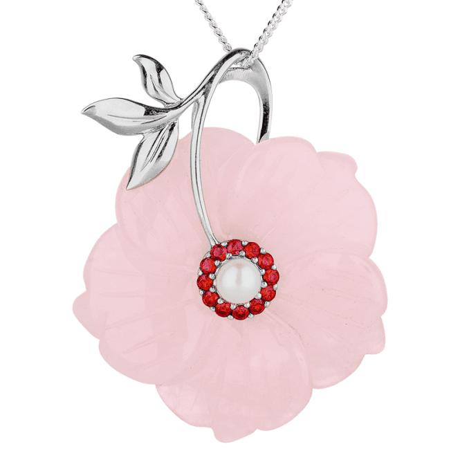 43ct Rose Quartz Pendant with a Pearl & Red Sapphire Centre