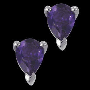 Ladies Shipton and Co Silver and 7x5mm Pearshape Amethyst Claw Set Earrings EQA074AM