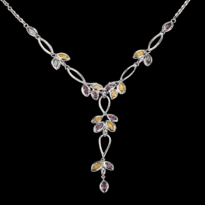 Ladies Shipton and Co Exclusive Silver and Multiple Stone Necklace NQA200MU7