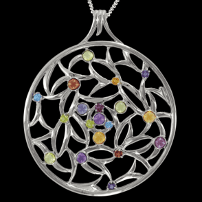 """Ladies Shipton and Co Exclusive Silver and Multiple Stone, Peridot Pendant including a 16"""" Silver Chain  PQA280MU9"""