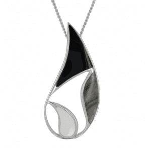 Ladies Shipton and Co Exclusive Silver Balancing Forms Mother of Pearl Pendant including a 16 Silver Chain TKW426PMON