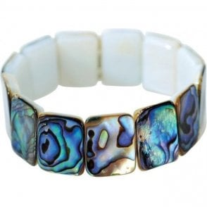 Ladies Shipton and Co Silver Comfort Fit Paua Shell Stretch Bracelet BYY002PA