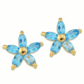Blue Topaz Flower Earrings in 9ct Gold