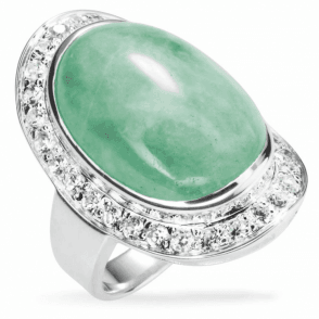 Hollywood Ring of Jade and White Topaz