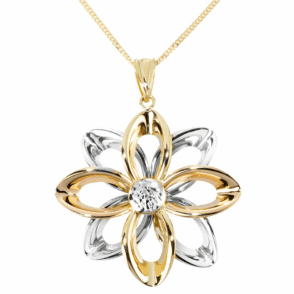 Ladies Shipton and Co 9ct Three Colour Gold Flower Pendant including a 16 9ct Chain TAR514NS