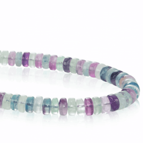 Ladies Shipton and Co Silver and 8mm Disc Shaped Multi Coloured Flourite Beads 18 Inches Long BFE006FL