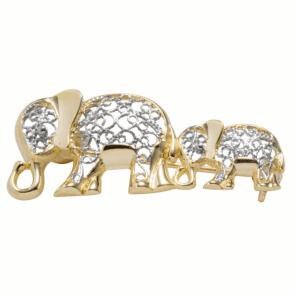 9ct Gold Elephant Brooch